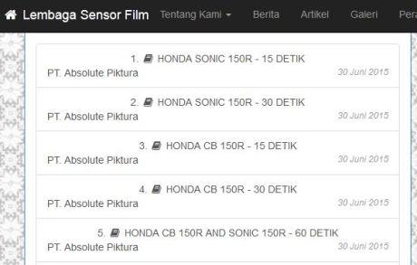 Iklan Honda Sonic 150R dan CB150R facelift 2015 lolos lembaga Sensor Film, indikasi kuat Lahir bareng