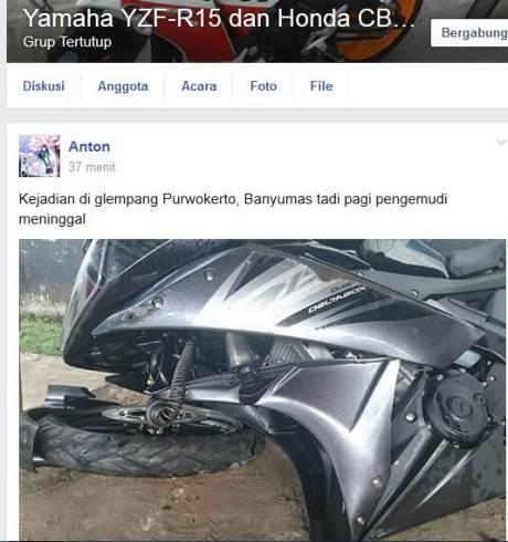 Kecelakaan Yamaha r15 Shock Patah di  Purwokerto 07 pertamax7.com
