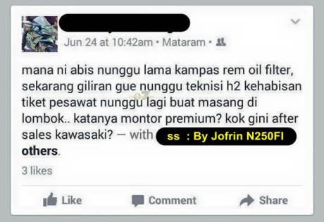 keluhan pengguna kawasaki ninja H2 di lombok sparepart susah teknisi lama pertamax7.com