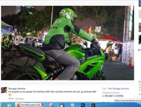 Moge kawasaki Ninja 650 jadi ojek GO-jek pertamax7.com