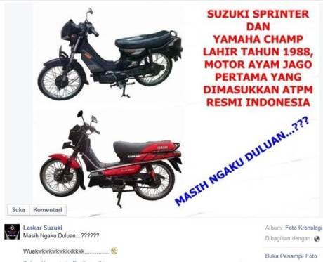 motor ayam jago pertama di Indonesia laskar suzuki sprinter dan yamaha champ