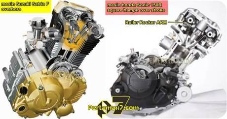 perbandingan mesin Suzuki Satria F vs Honda SOnic 150R pertamax7.com