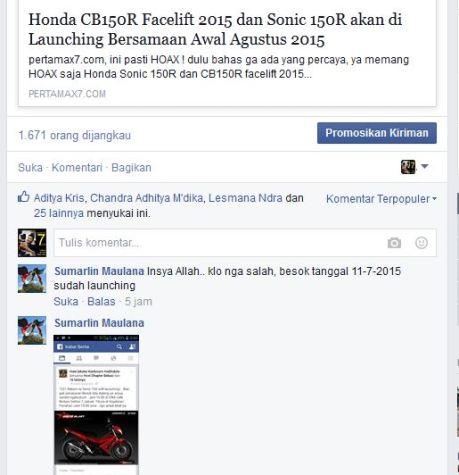 soft launching honda sonic 150R kepada komunitas honda CS1 pertamax7.com