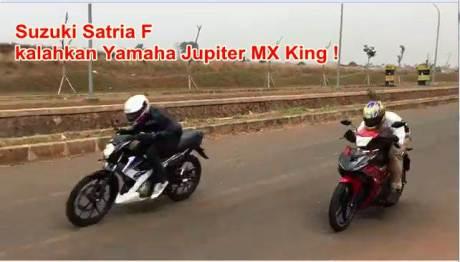 adu drag test suzuki satria F kalahkan Yamaha jupiter mx king 150  pertamax7.com  1