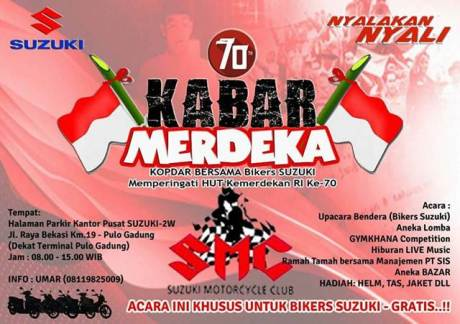 Ayo Ramaikan Kopdar Bersama di Kantor Pusat Suzuki Sambut Kemerdekaan Indonesia ke 70 bertabur Hadiah pertamax7.com