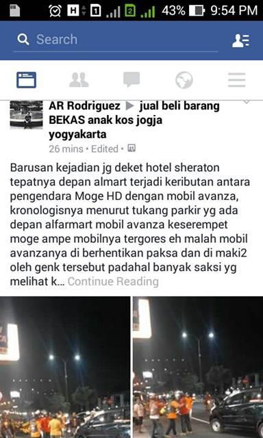Beredar BC Mogeh Harley Tabrak Mobil di Jogja, Mau Berantem yang melerai malah babak belur