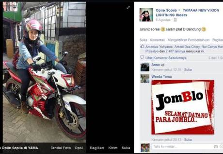 Cewek Bandung naik Yamaha New Vixion Ini banjir Like di Facebook [ heboh ]