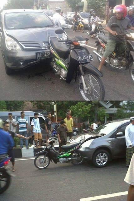Honda Supra nancep di Moncong Nissan Grand Livina, wajar ini namanya Crumple ZOne