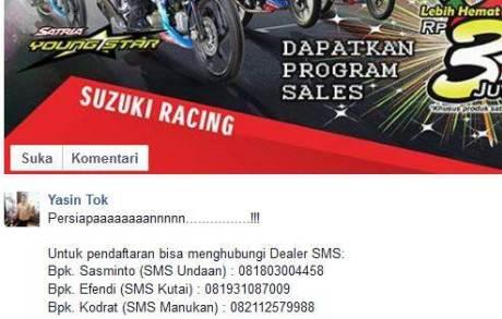 info Diskon Suzuki Satria F Rp.3 Jutaan di ajang Suzuki Indonesia Challenge pertamax7.com