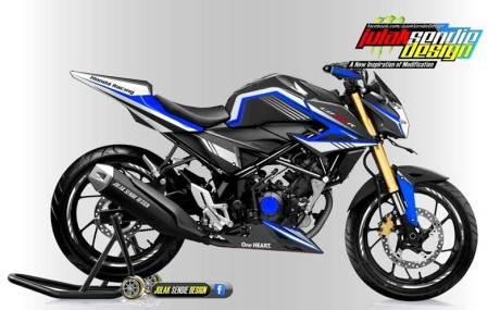 Modifikasi All new Honda New CB150R Facelift Julak sendie biru hitam
