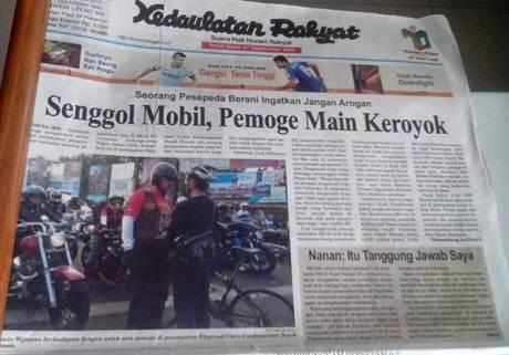 Mogeher Harley Senggol Mobil Main Keroyok Itu Masuk Koran, tapi belum ada laporan Ke Polisi