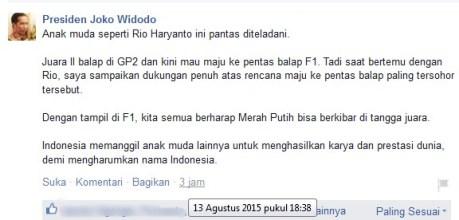 Pernyataan Presiden Indonesia Joko Widodo Apresiasi dan Dukung Rio Haryanto Maju ke Balap F1 pertamax7.com