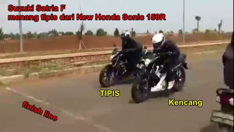 Suzuki Satria F Menang Tipis adu Drag Lawa New Honda Sonic 150R, terlihat Kencang ! [ HOT ] pertamax7.com
