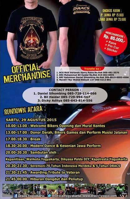Undangan 5 tahun Anniversary DRACS Jogja terbuka untuk Seluruh Rider Honda CS101 Pertamax7.com