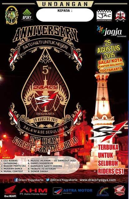 Undangan 5 tahun Anniversary DRACS Jogja terbuka untuk Seluruh Rider Honda CS102 Pertamax7.com