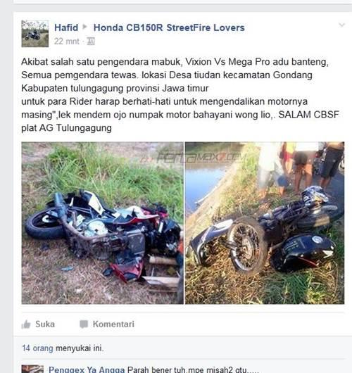 Adu Banteng Yamaha Vixion VS Honda Megapro Remuk akibat Rider Mabuk di Tulungagung  pertamax7.com