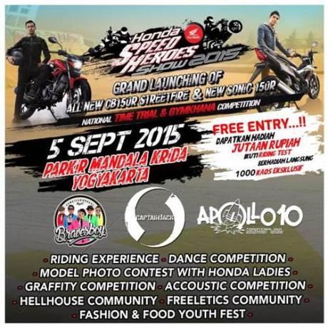 Ayo Nonton Grand Launching All New Honda CB150R dan new Sonic 150R di Mandala Krida Jogja 5 September 2015,  Bisa testride pertamax7.com