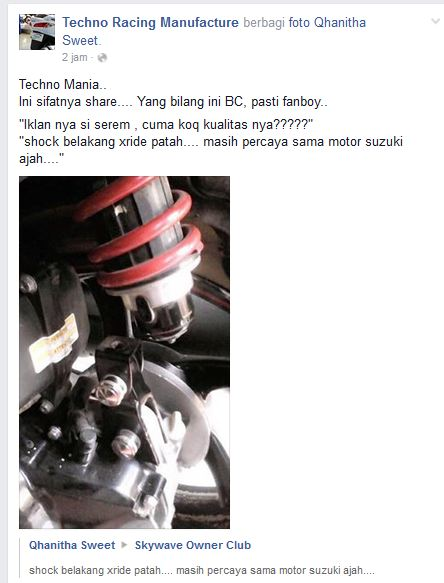 Diganjel Biar Tinggi, Shock belakang Yamaha X-Ride Patah 2