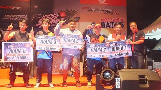 Gymkhana New Honda Sonic Medan diPadati 118 Starter hadiah mantabh 11 pertamax7.com