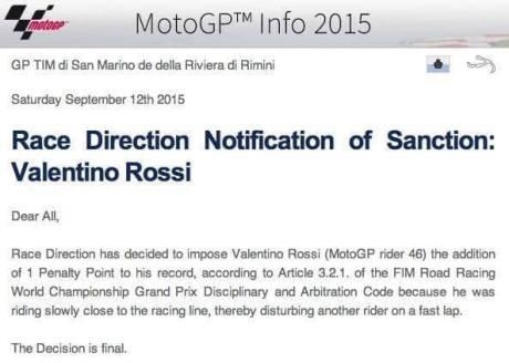 Halangi Lorenzo di Kualifikasi, valentino Rossi diganjar poin Penalty