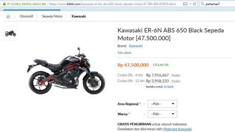 Harga Kawasaki ER-6N ini cuma Rp.47,5 juta pertamax7.com