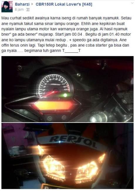 Kala Honda CBR150R buat Ngusir Nyamuk, Akinya tekor pertamax7.com
