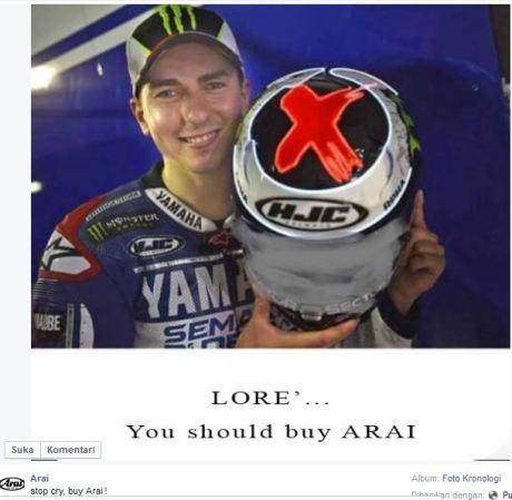 Lorenzo beli ARAI saja karena Helm HJC Ngembun di Motogp Silverstone 1