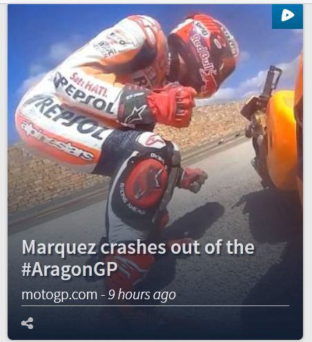 marc marquez crash motogp  aragon 2015 on second laps