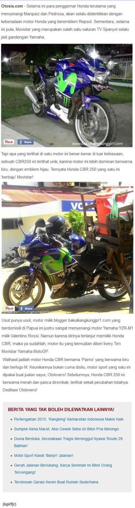Otosia sebut Honda CBR250R modif Movistar karena Tak Keturutan Beli Yamaha R25, Pemilik Keberatan 4