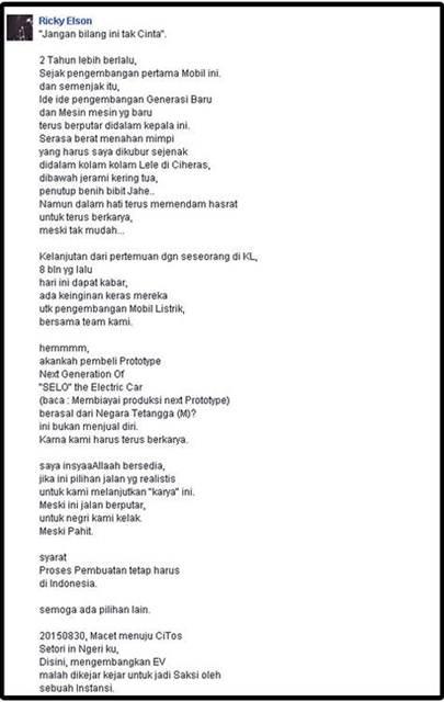 Tak Lulus Uji Emisi di Indonesia, Pengembangan Mobil Listrik Selo Indonesia diakuisisi Malaysia 03 pertamax7.com