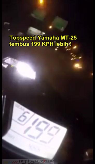 topspeed yamaha MT-25 tembus 199 Km per jam di jalan raya bandung pasopati  pertamax7.com 1