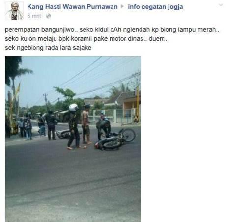 Bocah Terobos Lampu Merah tabrak Pak Koramil Naik Motor Dinas di Jogja pertamax7.com