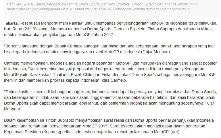 DORNA terbitkan Surat Resmi Penunjukkan Indonesia sebagai Tuan Rumah Motogp 2017 pertamax7.com 1