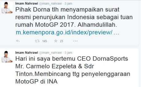 DORNA terbitkan Surat Resmi Penunjukkan Indonesia sebagai Tuan Rumah Motogp 2017 pertamax7.com