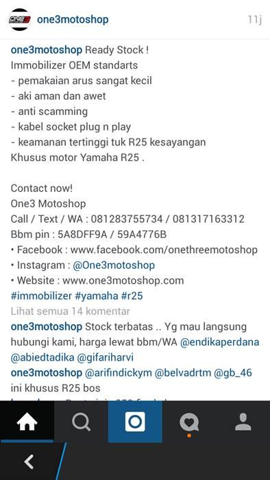 Immobilizer Yamaha R25 dan MT25 cuma Rp.600 rebu bikin motor mahalmu semakin aman 00 pertamax7.com