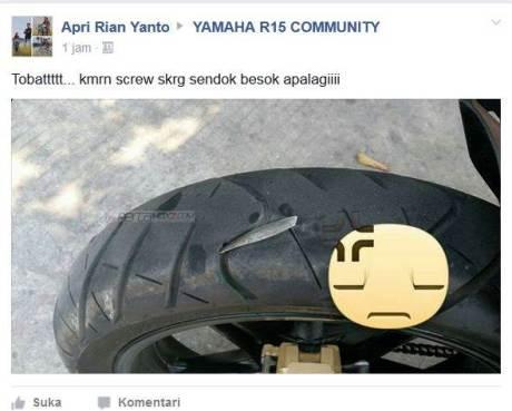Kala Sendok makan nancep di ban Belakang Yamaha R15, sakitnya tuh disini pertamax7.com
