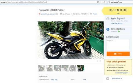 Keren-nih-Jual-Kawasaki-NS200-Pulsar-tipe-Ninja-250-tahun-2015-Tukar-Yamaha-Vixion-pertamax7
