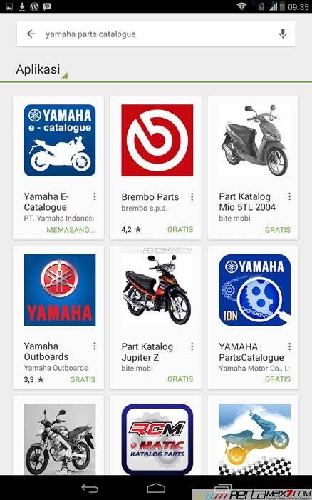 Mencoba Aplikasi Android Yamaha PartsCatalogue buat cek spare parts 00 pertamax7.com