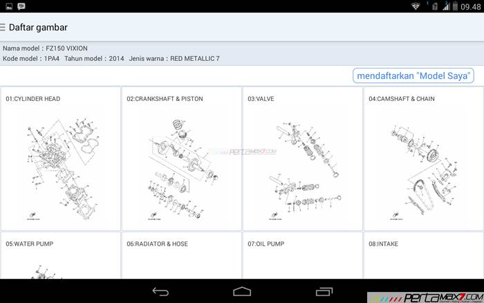 Mencoba Aplikasi Android Yamaha PartsCatalogue buat cek spare parts 07 pertamax7.com