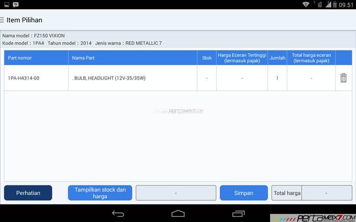 Mencoba Aplikasi Android Yamaha PartsCatalogue buat cek spare parts 11 pertamax7.com