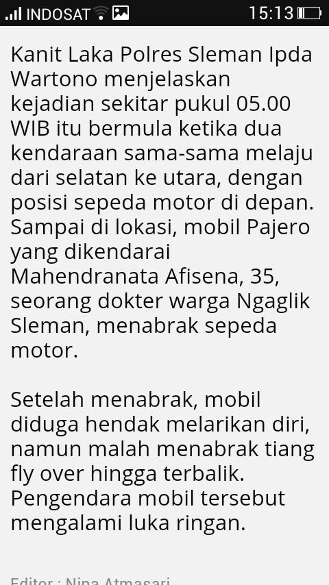 Pajero Sport Tabrak Lari Pengendara Vario Sampai Meninggal, Saat Kabur lalu terguling di jogja 01 Pertamax7.com