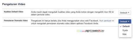 pengaturan autiplay video facebook