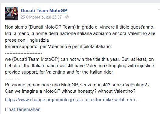 pernyataan Ducati Team MotoGP Dukung Valentino Rossi  pertamax7.com 2