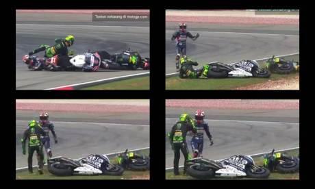 Pol Espargaro Ngomel Karena Ditubruk Hector Barbera sambil tunjuk mata pertamax7.com