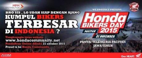 Syah, Honda Bikers Day 2015 di gelar di Pantai teleng ria Pacitan Jawa Timur 21 november 2015, Daftar Online mulai 21 Oktober pertamax7.com