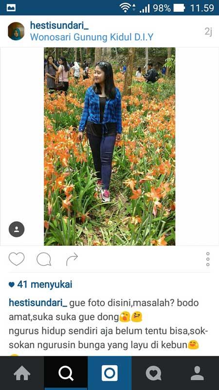 Akun-Instagram-Ini-di-Bulli-Karena-Injak-Taman-Bunga-Amarillys-di-Pathuk-GunungKidul,-Suka-Suka-Gue-Dong-pertamax7.com-