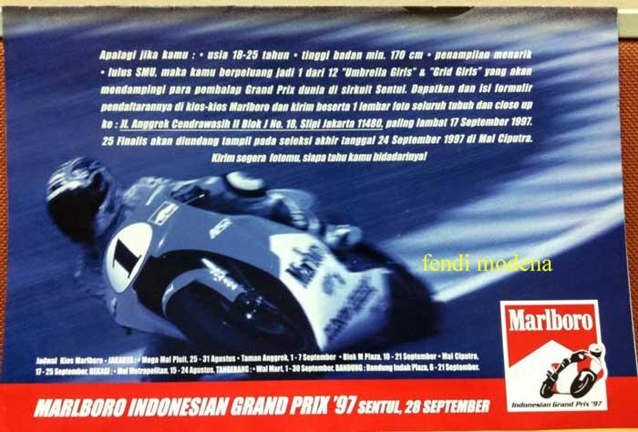Intip Brosur Lowongan Umbrella Girls & Grid Girls Motogp Indonesia 1997, di 2017 gimana yak pertamax7.com