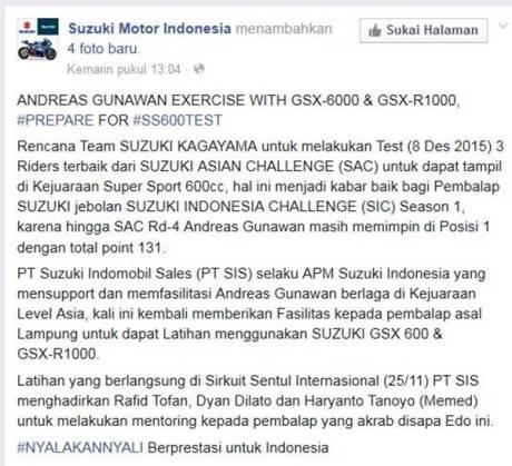 Juara Suzuki Indonesia Challenge Satria F150 berlatih dengan GSX-6000 dan GSX-R1000, dari bebek 150 cc siap loncat Tampil di Supersport 600 01 pertamax7.com