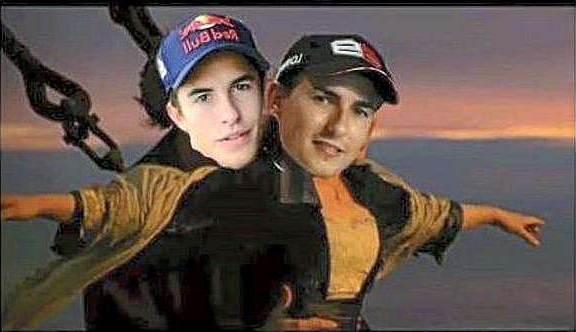 Lorenzo Ngakak Lihat Meme dirinya dan Marquez titanic pertamax7.com