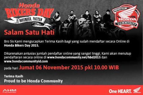 Pendaftaran Online Honda Bikers Day 2015 resmi di Tutup pertamax7.com
